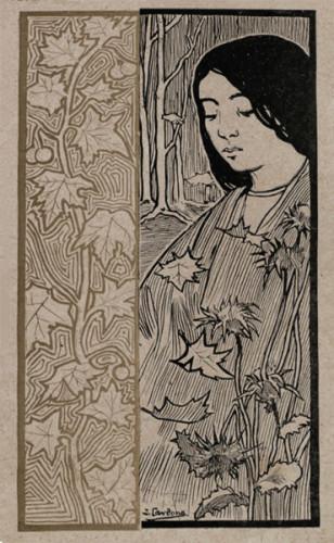 Ilustración publicada también en la revista El Gato Negro, 1 de octubre de 1898. Aquí los motivos florales anteriores aparecen al lado de una figura.