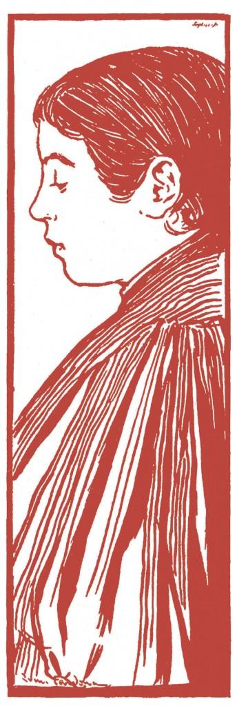 La composición de la niña de perfil es muy similar a la utilizada en la portada de la revista El Gato Negro y al dibujo realizado para el consiliar Torras y Bages. Probablemente se trate de la misma modelo.