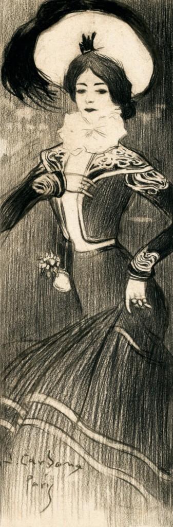 Durante los primeros años de residencia en París, Cardona localizaba y, en ocasiones, fechaba sus dibujos tal como aquí puede apreciarse.