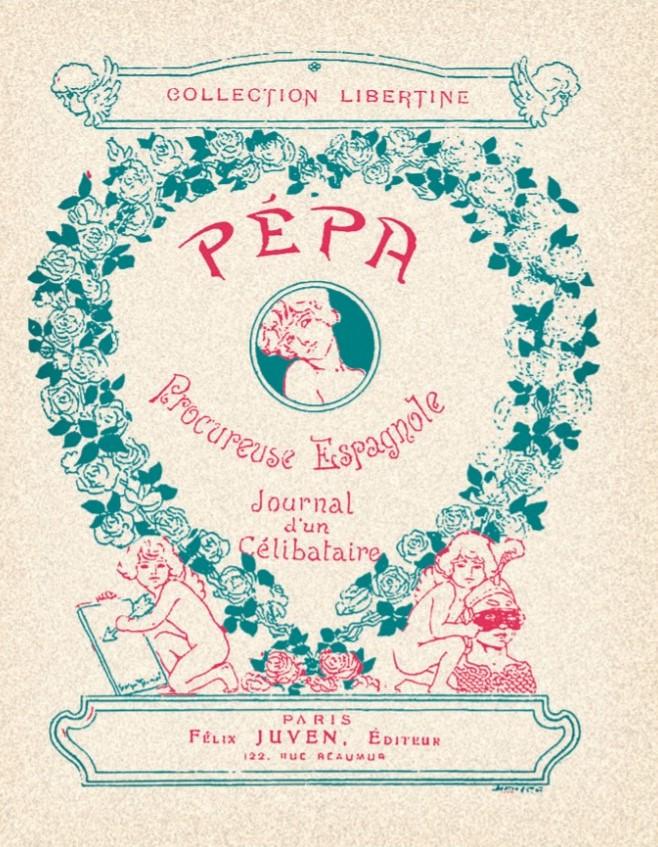 Portada del libro Pépa procureuse espagnole, diseñada por el dibujante y cartelista Georges Meunier, quien era colaborador habitual de la revista humorística Le Rire -en la que también colaboró Cardona- y de otras publicaciones de Félix Juven, el editor de esta colección de libros. Las ilustraciones interiores, a color y en blanco y negro, eran de Joan Cardona.