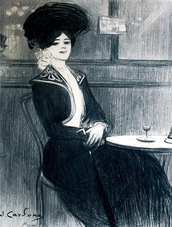 La temática de bellas mujeres retratadas en cafés de París o en ambientes de ocio se inició en el año 1898 tras el viaje de Cardona a la capital francesa. Esas imágenes fueron recurrentes en su producción a partir de ese momento.
