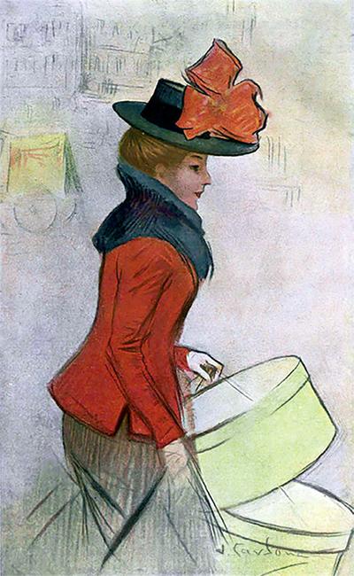 Les escenes de modistes, cosidores i serventes passejant voluminosos paquets en els quals es portava barrets, tocats i vestits, van ser molt habituals entre els il·lustradors de premsa.